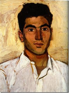 New portrait with white shirt (1948) by Yannis Tsarouchis