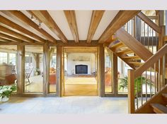 Oak flooring brings warm to the living room and compliments the large Bath stone fireplace. Home Design Decor, Best Interior Design, House Design, Interior Architecture, Interior And Exterior, Oak Framed Buildings, Oak Frame House, Glazed Walls, Glass Room