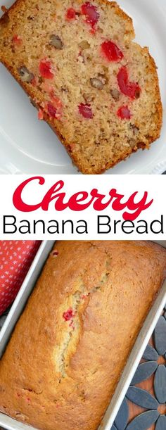 Cherry Banana Bread Recipe This delicious and easy quick bread is such a great way to use those ripe bananas! The maraschino cherries and pecans add so much flavor and it's great for breakfast, snack, the lunchbox or dessert! Cherry Bread, Fruit Bread, Mini Desserts, Dessert Recipes, Recipes Dinner, Holiday Recipes, Bread Cake, Dessert Bread, Unique Banana Bread Recipe