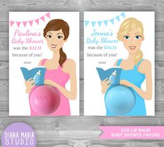 EOS Baby Shower Favors Printable Favor Tags por DianaMariaStudio