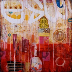 """Jill Ricci. """"Red City"""", mixed media on canvas. #art #collage #paintings"""