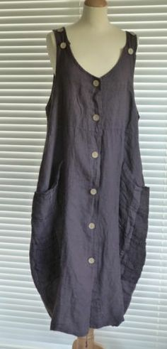 Fabulous Italian MID Weight Linen Lagenlook Pinafore Style Quirky Dress RSP £59 | eBay