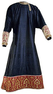 12th Century Tunic from Palermo (1125-50), blue and gold silk, embroidered by gold, pearls and filigrees. Kunsthistorishes Museum, Vienna