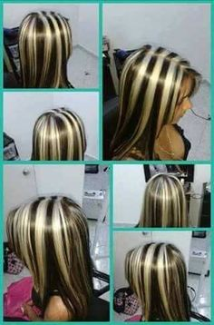 Very bold streaks thick blonde highlights, hair color highlights, red blonde hair, ombre Blonde Highlights On Dark Hair, Hair Streaks, Brown Blonde Hair, Colored Highlights, Chunky Highlights, Multicolored Hair, Cool Hair Color, Hair Colors, Bad Hair