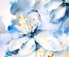 ORIGINAL Watercolor Painting. Blue Abstract Flowers. by CanotStop, $54.00