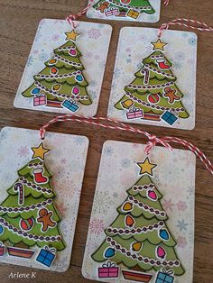 """Merry Christmas Lawn Fawn """"Trim theTree"""" stamp set and die. Lawn Fawn """" Stitched Journaling Card"""" die.  knipoogcreations.blogspot.com/2014/12/christmas-tags.html..."""