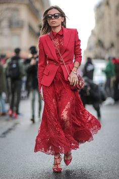 25 Chic Monochromatic Fashion Outfits to Try | A sleek red blazer layered over a red lace maxi dress and styled with red Valentino rockstud heels