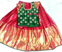 Frocks For Girls, Kids Frocks, Little Girl Dresses, Kids Dress Wear, Kids Wear, Baby Dress, Lehanga For Kids, Kids Pattu Pavadai, Kids Ethnic Wear