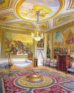 El Escorial. Dormitorio de Carlos IV Baroque Architecture, Historical Architecture, Beautiful Architecture, Home Design, Decor Interior Design, Epoxy Floor Designs, Floor Murals, Floor Art, Rococo Style