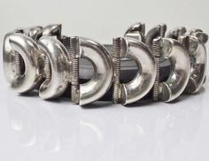 "Old Mid Century Mexico Sterling Silver Bracelet Modernist 7.25"" pre Eagle 1940's #Vintage #Jewelry #Fashion #Style #Design #VintageJewelry #Bracelet #SterlingJewelry # #Beauty #Ebay"