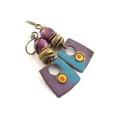 Purple Blue Brass Earrings  Enameled Artisan by CinLynnBoutique