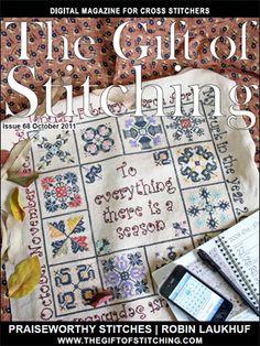 Issue 68 of The Gift of Stitching magazine. Beautiful cross stitch.