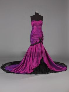 Mermaid purple and black wedding dress