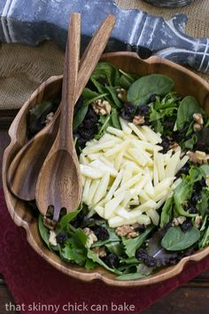 Apple, Cherry, Walnut Salad with Maple Dressing from That Skinny Chick Can Bake