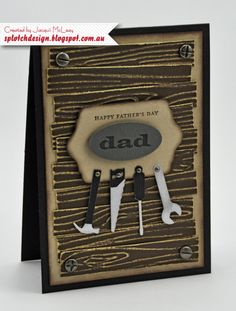 card men masculine tool tools handyman handy man woodgrain woodwork Splotch Design - Jacquii McLeay - Stampin Up - Father's Day Tool Card Cool Birthday Cards, Masculine Birthday Cards, Masculine Cards, Birthday Gifts, Boy Cards, Cute Cards, Men's Cards, Birthday Greetings For Mother, Karten Diy