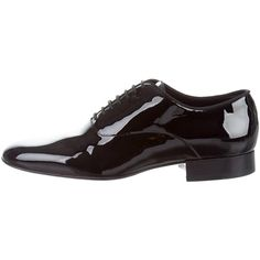 Pre-owned Saint Laurent Patent Leather Round-Toe Oxfords (3655 MAD) ❤ liked on Polyvore featuring men's fashion, men's shoes, men's oxfords, black, mens black oxford shoes, black patent mens shoes, mens patent shoes, mens oxford shoes and yves saint laurent mens shoes