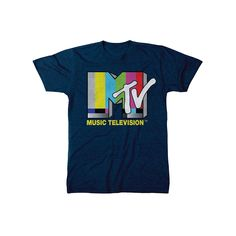 Mtv Men's Logo T-Shirt Navy XL, Blue