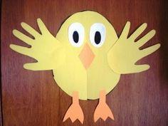 Preschool Crafts for Kids*: Easy Easter Chick Hand Print Preschool Craft (easter crafts chicken) Duck Crafts, Easy Easter Crafts, Daycare Crafts, Easter Art, Paper Crafts For Kids, Toddler Crafts, Bunny Crafts, Animal Crafts, Spring Crafts