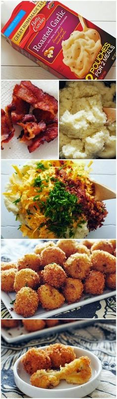 Ingredients 1 pouch Betty Crocker roasted garlic mashed potatoes 2 tablespoons butter 1/2 cup milk 3 slices bacon 3/4 cup shredded cheddar cheese 1 large egg 2 tablespoons snipped chives 1 1/2 cup Pro