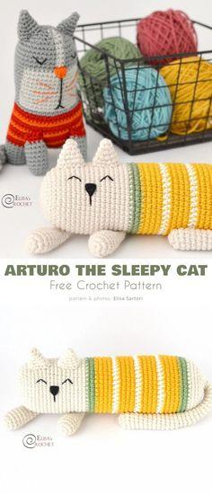 Crochet Pillow Patterns Free, Crochet Cat Pattern, Crochet Amigurumi Free Patterns, Crochet Animal Patterns, Free Crochet, Knitted Toys Patterns, Crochet Home, Gato Crochet, Crochet Cat Toys