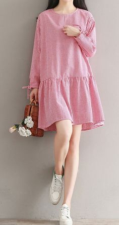 Details about Women loose fit plus size red checkered dress skater skirt fashion long sleeve  #about #checkered #details #dress #loose #skater #women