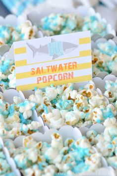 Salt water popcorn at a Jawesome shark themed birthday party by Kara Allen | Kara's Party Ideas | Cute for Shark Week!  _-70