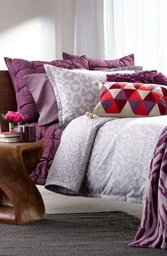 Purple + Subtle Animal Print Bedroom