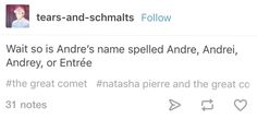 I thought was Andrei but I also sometimes without realizing it spelled it as Andre so now I don't know and I am c ONFUSED