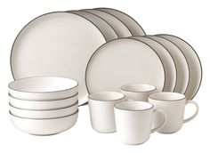 Gordon Ramsay by Royal Doulton Bread Street Stoneware Dinnerware Set White, Gray White