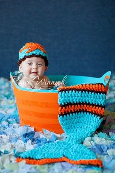 The Crochet Newborn  Mermaid Cocoon and a Beanie Photography prop. $50.00, via Etsy.