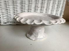 Coil built cake stand chunky white pottery