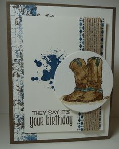 Used Country Livin'; Gorgeous Grunge; Suite Sayings and Timeless Textures stamp sets from Stampin' UP! Also used Dapper Denim and Soft Suede Inks. Paper: Moroccan DSP; Soft Suede CS; Very Vanilla CS; Watercolor Paper. Misc: Burlap Ribbon (jute) and Layering Circles framelits.