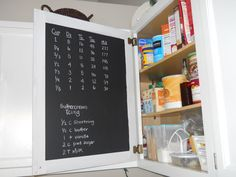 chalkboard paint inside cabinets perfect for writing what's inside the cabinet to minimize searching and digging. Paint Inside Cabinets, Inside Kitchen Cabinets, Painting Cabinets, Kitchen Cupboard, Kitchen Reno, Magnetic Chalkboard, Chalkboard Paint, Kitchen Chalkboard, Chalk Paint