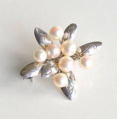 Vintage Pearl Brooch Sterling Silver Brooch Cultured Pearl Pin 1950s Jewelry