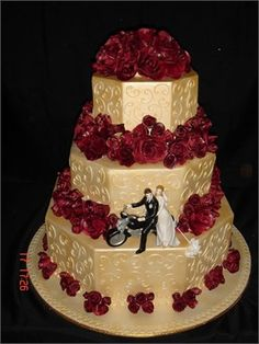 Decadent gold and red wedding cake