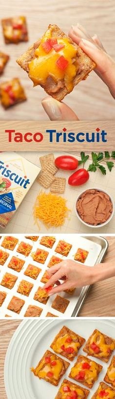 This simple big game snack is an easy win with your party guests! Fill a baking tray with TRISCUIT crackers, then spread with refried beans, shredded cheddar and diced tomatoes. Bake for 10 mins and you're done. Touchdown!