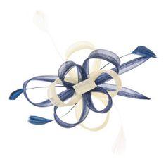 Barrette avec boucle bleu marine et crème