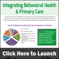 Looks at the healthcare industry's progress toward integrated behavioral health with primary care: http://www.hin.com/infographics/integrating_behavioral_health_and_primary_care.html