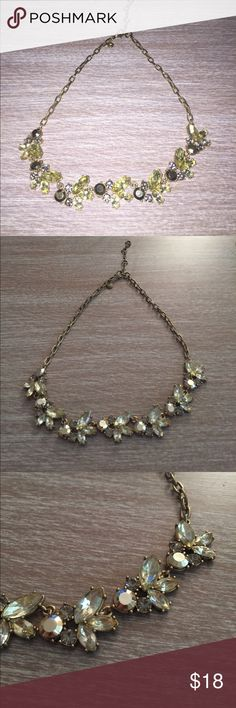 J. Crew Necklace J. Crew Necklace with clear, grey and gold rhinestones. Brushed metal hardware. Adjustable. Does not come with dustbag. Perfect condition. No stones are missing! 100% authentic. J. Crew Jewelry Necklaces