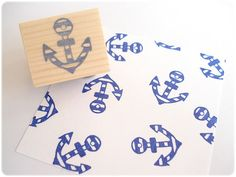 Anchor stamp Summer wedding Holiday stamp por JapaneseRubberStamps