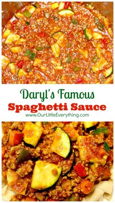 I LOVE this spaghetti sauce! Sure it's loaded with vegetables, but also with flavor! Daryl sure knew what he was doing when he created this spaghetti sauce recipe because I was NOT a fan of pasta until I tried this! Canned Spaghetti Sauce, Spaghetti Meat Sauce, Zucchini Spaghetti, Spaghetti Recipes, Spaghetti With Vegetables, Macaroni Spaghetti, Sauce Recipes, Pasta Recipes, Real Food Recipes