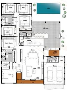 this plan has just about everything its modern huge and suits the family who - Drawing House Plans