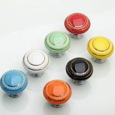 Knobs Dresser Knobs Drawer Knobs Pulls Handles / Ceramic Cabinet Knobs /Colorful Knobs Kitchen Furniture Hardware Green Orange Blue Black by MINIHAPPYLV on Etsy