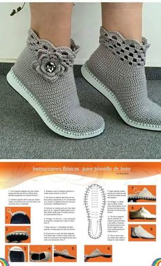 Learn how to crochet shoes with this easy free crochet pattern and tutorial. Because of their flip flop soles, these DIY kicks work well equally well as house slippers or outdoor shoes. Crochet Boots Pattern, Crochet Slipper Boots, Newborn Crochet Patterns, Crochet Sandals, Knit Boots, Shoe Pattern, Crochet Slippers, Clog Slippers, Felted Slippers