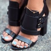 Shoespie Black Chunky Heel Sandals