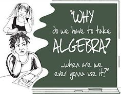 """Math Fact """"Algebra as a demonstrable gateway to later achievement and completion of Algebra II correlates significantly with success in college and earnings from employment. Students who complete Algebra II are more than twice as likely to graduate from college as students with less mathematical preparation"""" (Edutopia, 2008)."""