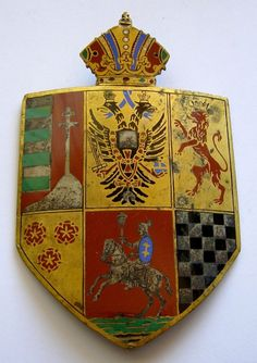 E049 Austria Hungary Coat of Arms Enameled Bronze Badge | eBay