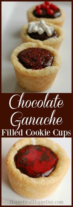 Chocolate Ganache Filled Sugar Cookie Cups - these look fancy, but are so easy to make!!!  This is a great sugar cookie cup dessert recipe that can be used for any holiday!   #sugarcookies #sugarcookiecups #sugarcookiecupsrecipe #ganache #chocolateganache #easydessertrecipe #ganachecookies