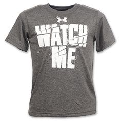 """The Under Armour """"Watch Me"""" Kids' Tee Shirt is perfect for any workout. Under Armour Charged Cotton helps keep you cool and dry with charged fabric that dries up to 5 times faster than your average tee shirt. Loose fit to allow all-around movement and prevent restriction."""