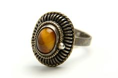 Vintage Taxco sterling silver and catseye ring - perfect for fall festivals! Brought to you by VintageCravens